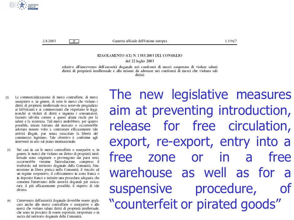 Defines the conditions of the intervention of customs authorities that may suspend the release of the goods or detain them for the period necessary to ascertain that goods are counterfeit or pirated