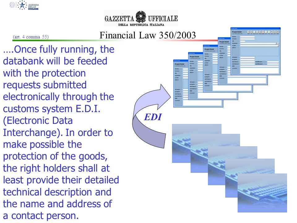 Financial Law 350/2003 Minimum data required may be integrated with data on: a)The production and movement of goods, more specifically: name of the importer, exporter, holder of the goods; place of manufacturing; itinerary followed packaging and transport modalities arrival and departure dates b)The value of the goods c)The type of fraud, more specifically: comparison of technical specifications of genuine and suspected goods countries of manufacturing and itineraries followed by suspected goods (art.