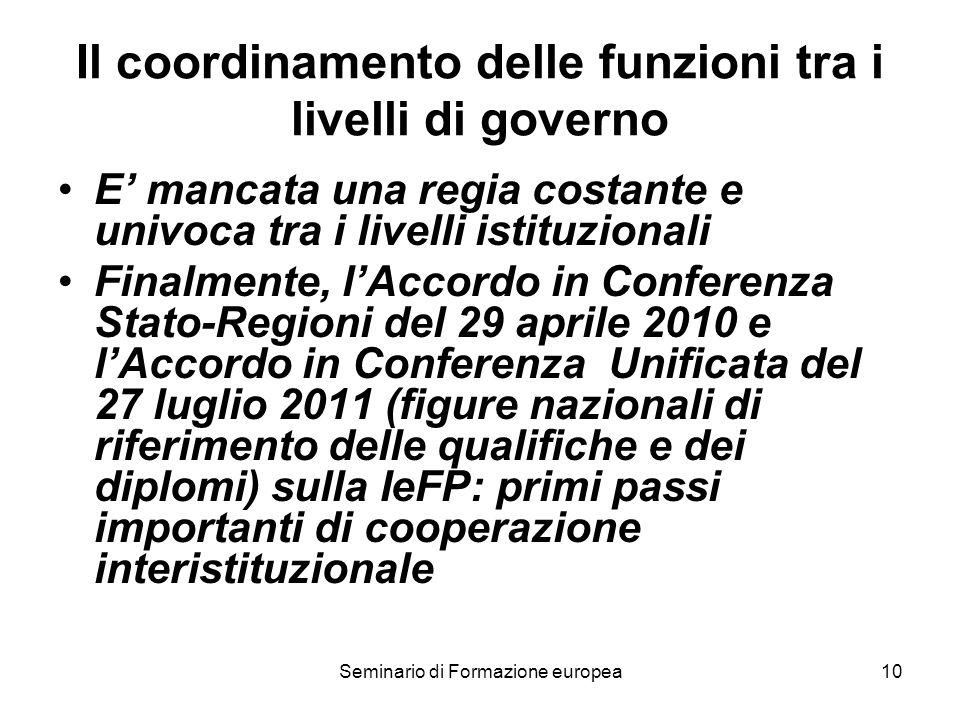 Seminario di Formazione europea10 Il coordinamento delle funzioni tra i livelli di governo E mancata una regia costante e univoca tra i livelli istitu