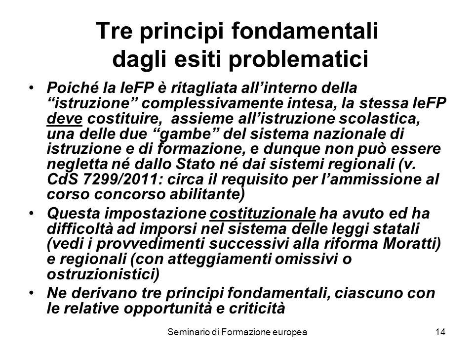 Seminario di Formazione europea14 Tre principi fondamentali dagli esiti problematici Poiché la IeFP è ritagliata allinterno della istruzione complessi