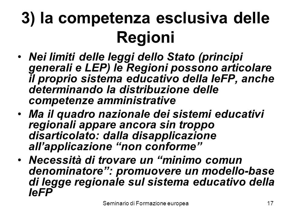 Seminario di Formazione europea17 3) la competenza esclusiva delle Regioni Nei limiti delle leggi dello Stato (principi generali e LEP) le Regioni pos