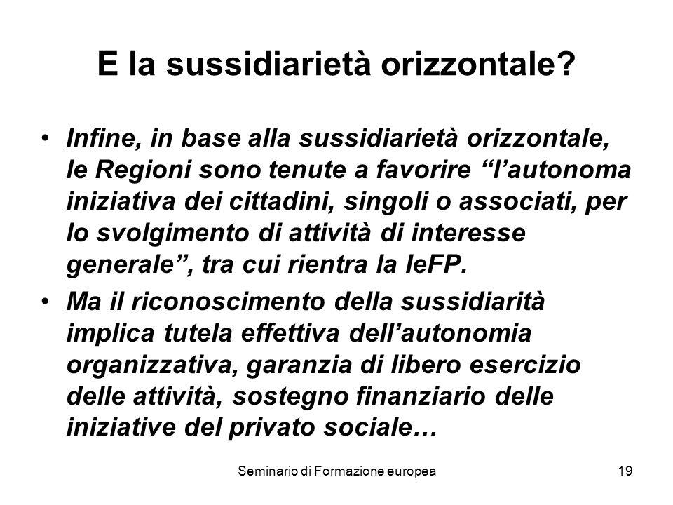 Seminario di Formazione europea19 E la sussidiarietà orizzontale? Infine, in base alla sussidiarietà orizzontale, le Regioni sono tenute a favorire la
