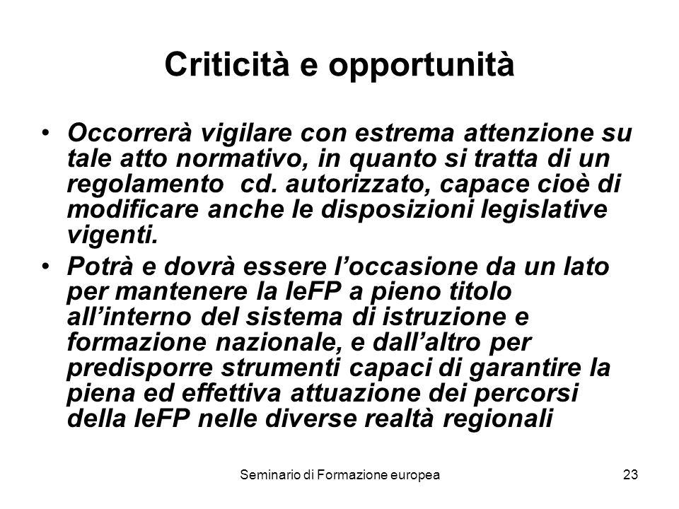 Seminario di Formazione europea23 Criticità e opportunità Occorrerà vigilare con estrema attenzione su tale atto normativo, in quanto si tratta di un
