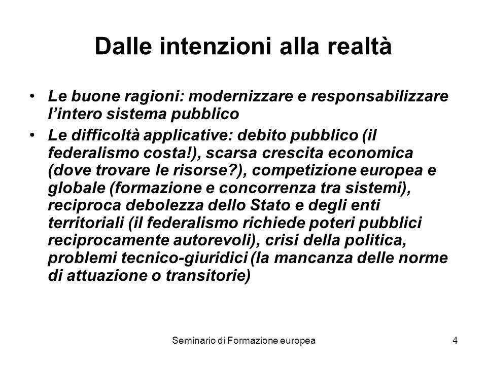 Seminario di Formazione europea4 Dalle intenzioni alla realtà Le buone ragioni: modernizzare e responsabilizzare lintero sistema pubblico Le difficolt