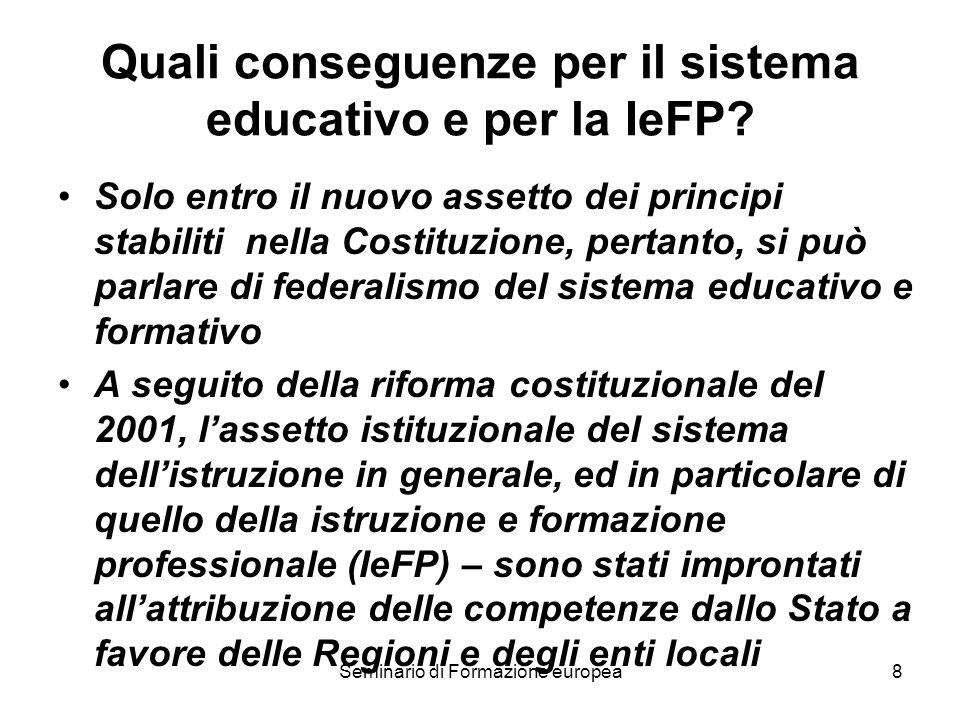 Seminario di Formazione europea8 Quali conseguenze per il sistema educativo e per la IeFP? Solo entro il nuovo assetto dei principi stabiliti nella Co