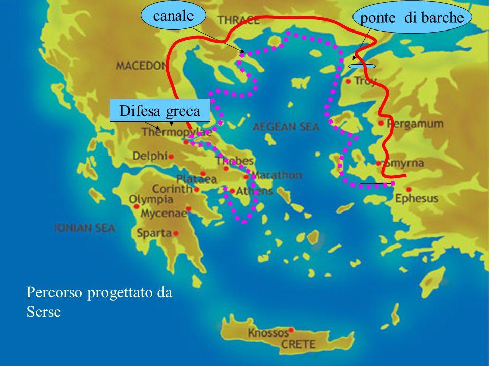 canale ponte di barche Percorso progettato da Serse Difesa greca