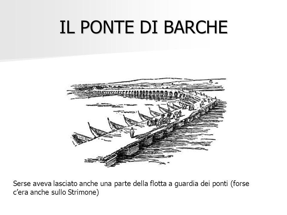 IL PONTE DI BARCHE Serse aveva lasciato anche una parte della flotta a guardia dei ponti (forse cera anche sullo Strimone)