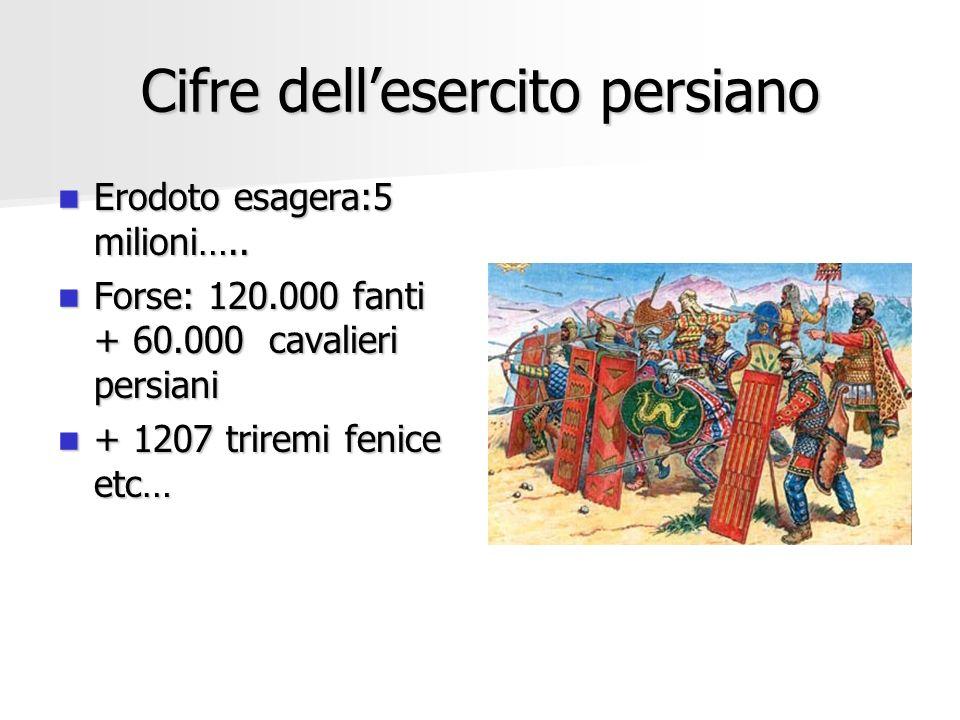 Cifre dellesercito persiano Erodoto esagera:5 milioni….. Erodoto esagera:5 milioni….. Forse: 120.000 fanti + 60.000 cavalieri persiani Forse: 120.000