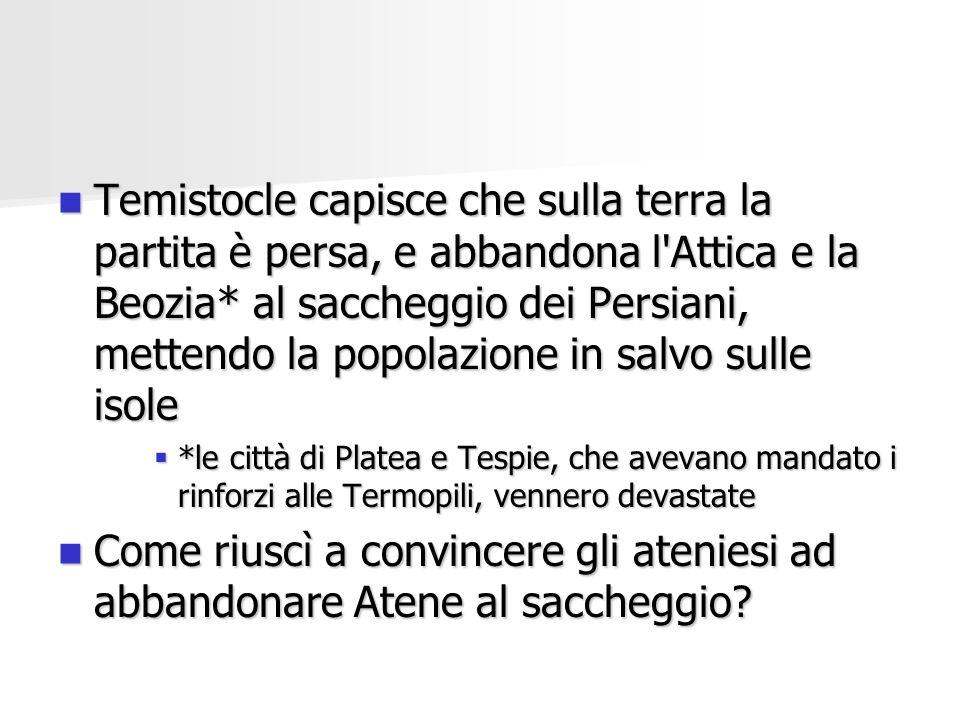 Temistocle capisce che sulla terra la partita è persa, e abbandona l'Attica e la Beozia* al saccheggio dei Persiani, mettendo la popolazione in salvo