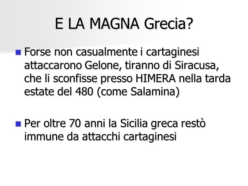 E LA MAGNA Grecia? Forse non casualmente i cartaginesi attaccarono Gelone, tiranno di Siracusa, che li sconfisse presso HIMERA nella tarda estate del