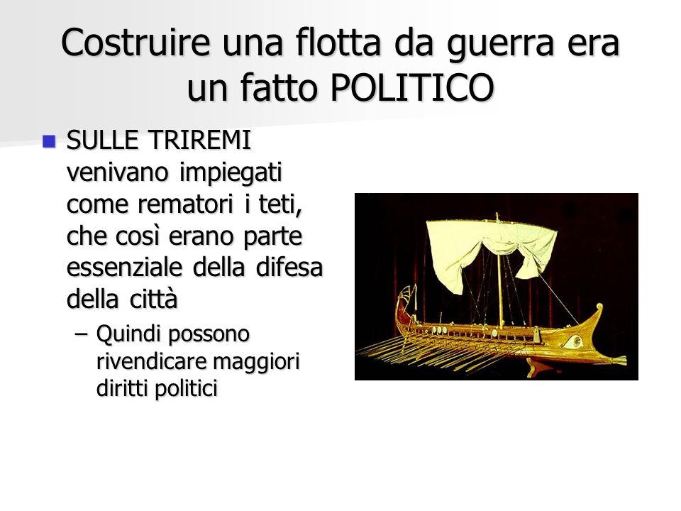 Costruire una flotta da guerra era un fatto POLITICO SULLE TRIREMI venivano impiegati come rematori i teti, che così erano parte essenziale della dife