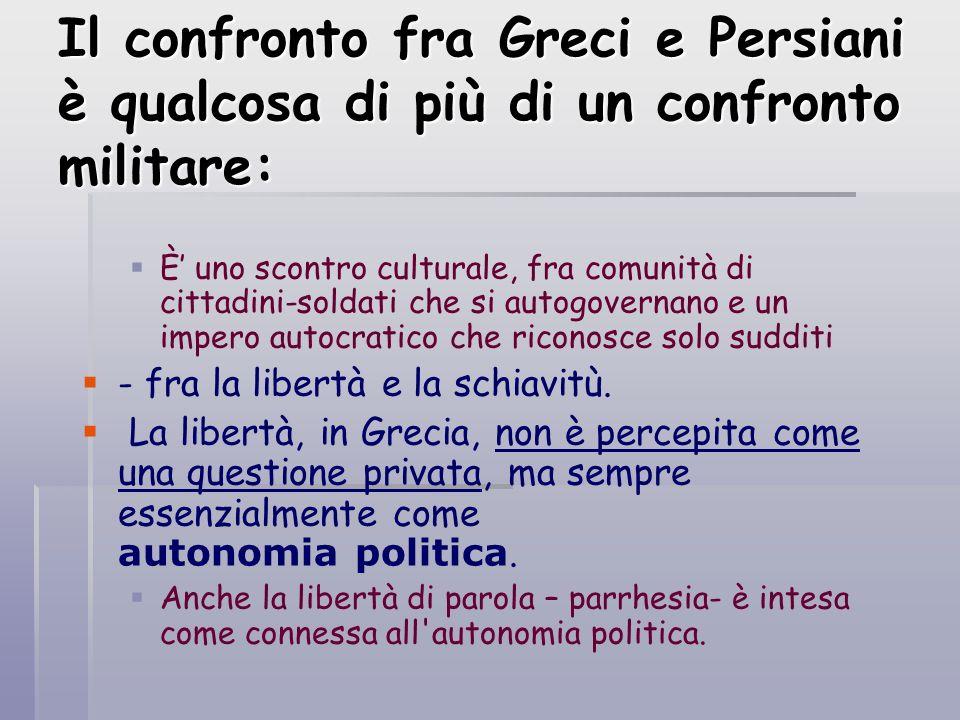 Il confronto fra Greci e Persiani è qualcosa di più di un confronto militare: È uno scontro culturale, fra comunità di cittadini-soldati che si autogo