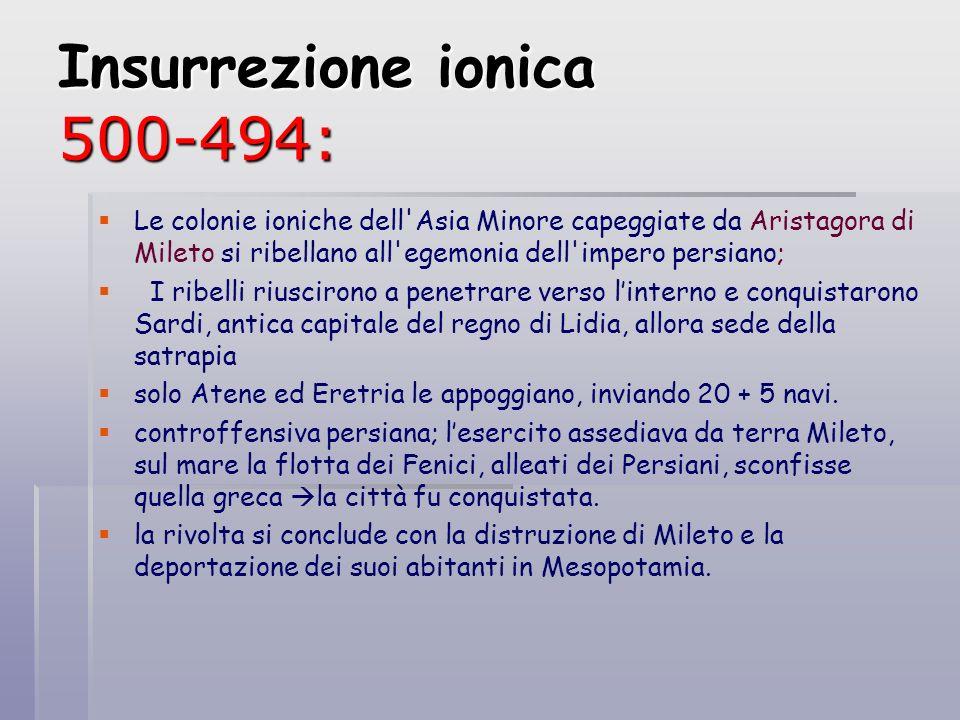 Insurrezione ionica 500-494: Le colonie ioniche dell'Asia Minore capeggiate da Aristagora di Mileto si ribellano all'egemonia dell'impero persiano; I