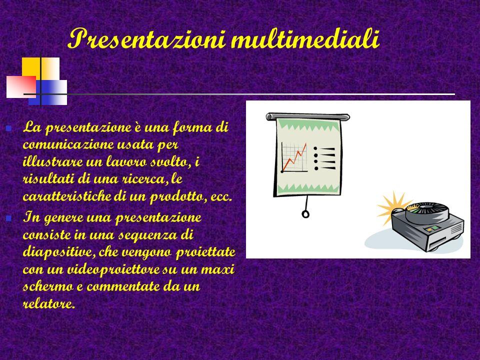 La presentazione è una forma di comunicazione usata per illustrare un lavoro svolto, i risultati di una ricerca, le caratteristiche di un prodotto, ecc.