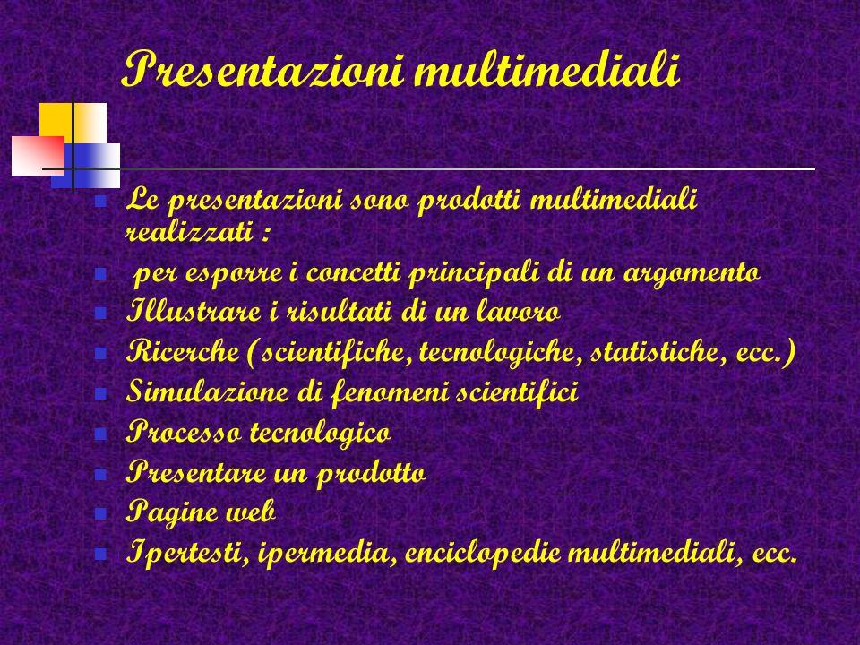 La presentazione è una forma di comunicazione usata per illustrare un lavoro svolto, i risultati di una ricerca, le caratteristiche di un prodotto, ec