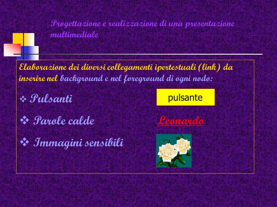 Progettazione e realizzazione di una presentazione multimediale Elementi comuni del foreground di ogni nodo: Titolo pagina Dati da inserire Immagine s