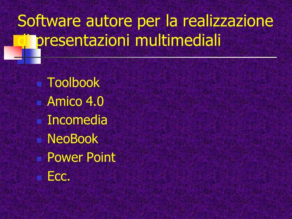 Software autore per la realizzazione di presentazioni multimediali Toolbook Amico 4.0 Incomedia NeoBook Power Point Ecc.