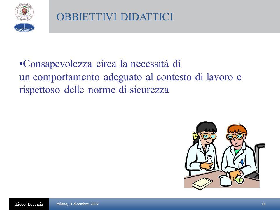 10 Liceo Beccaria Milano, 3 dicembre 2007 Consapevolezza circa la necessità di un comportamento adeguato al contesto di lavoro e rispettoso delle norm