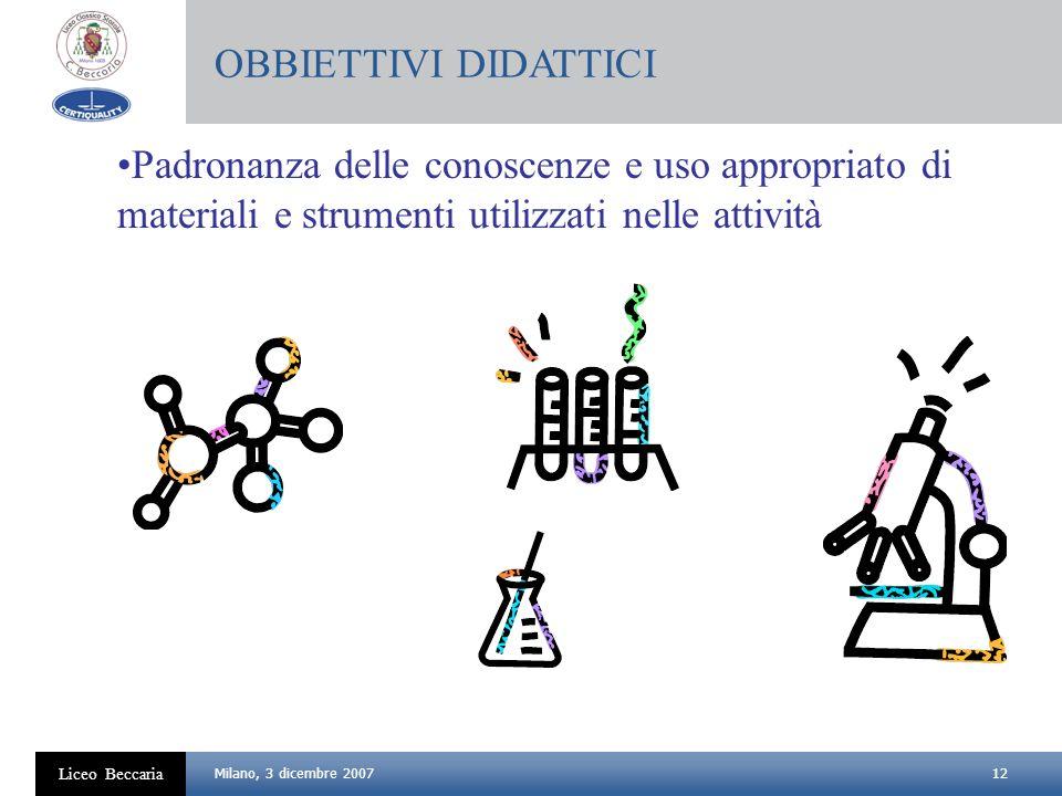 12 Liceo Beccaria Milano, 3 dicembre 2007 Padronanza delle conoscenze e uso appropriato di materiali e strumenti utilizzati nelle attività OBBIETTIVI