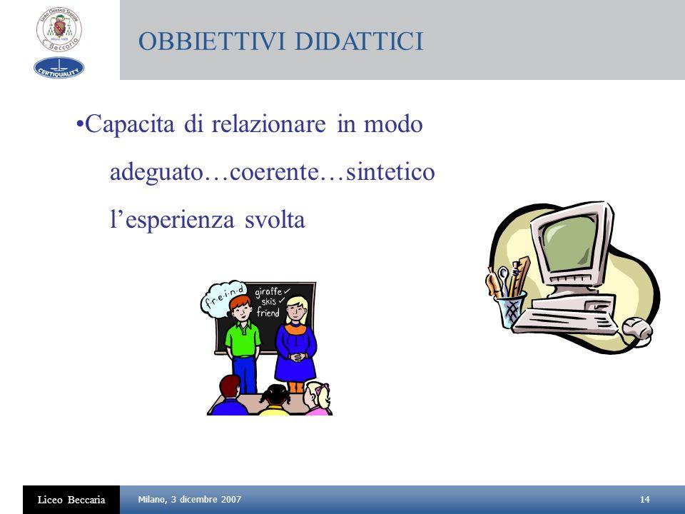 14 Liceo Beccaria Milano, 3 dicembre 2007 Capacita di relazionare in modo adeguato…coerente…sintetico lesperienza svolta OBBIETTIVI DIDATTICI