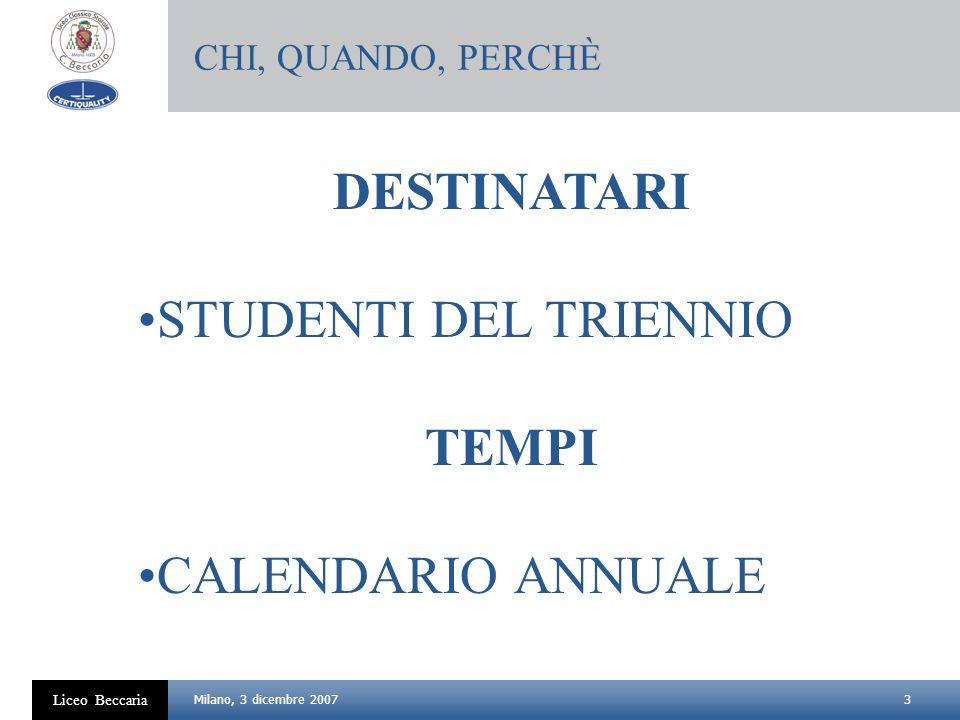 3 Liceo Beccaria Milano, 3 dicembre 2007 DESTINATARI STUDENTI DEL TRIENNIO TEMPI CALENDARIO ANNUALE CHI, QUANDO, PERCHÈ