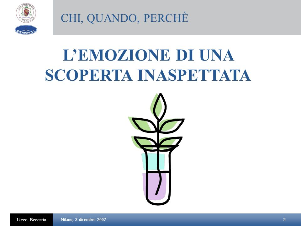 5 Liceo Beccaria Milano, 3 dicembre 2007 LEMOZIONE DI UNA SCOPERTA INASPETTATA CHI, QUANDO, PERCHÈ