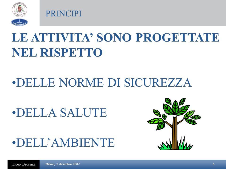 6 Liceo Beccaria Milano, 3 dicembre 2007 LE ATTIVITA SONO PROGETTATE NEL RISPETTO DELLE NORME DI SICUREZZA DELLA SALUTE DELLAMBIENTE PRINCIPI