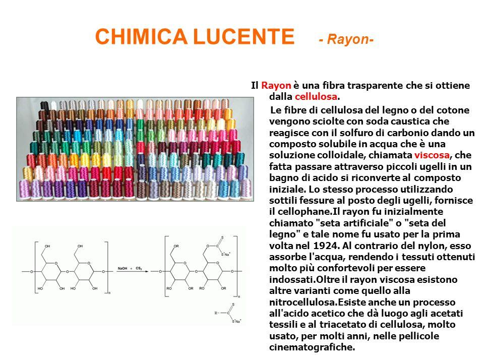 CHIMICA LUCENTE - Rayon- Il Rayon è una fibra trasparente che si ottiene dalla cellulosa. Le fibre di cellulosa del legno o del cotone vengono sciolte