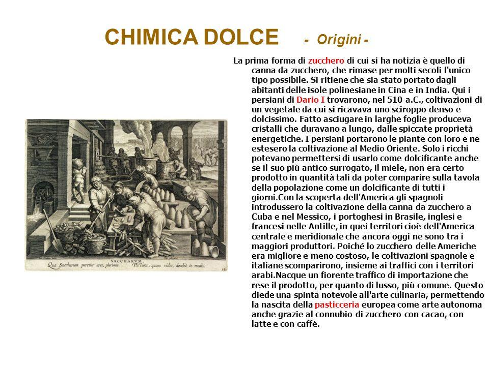 CHIMICA DOLCE - Origini - La prima forma di zucchero di cui si ha notizia è quello di canna da zucchero, che rimase per molti secoli l'unico tipo poss
