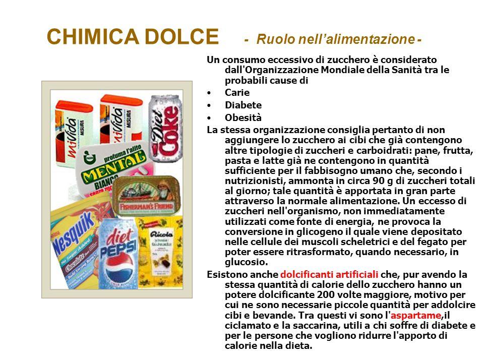 CHIMICA DOLCE - Ruolo nellalimentazione - Un consumo eccessivo di zucchero è considerato dall'Organizzazione Mondiale della Sanità tra le probabili ca