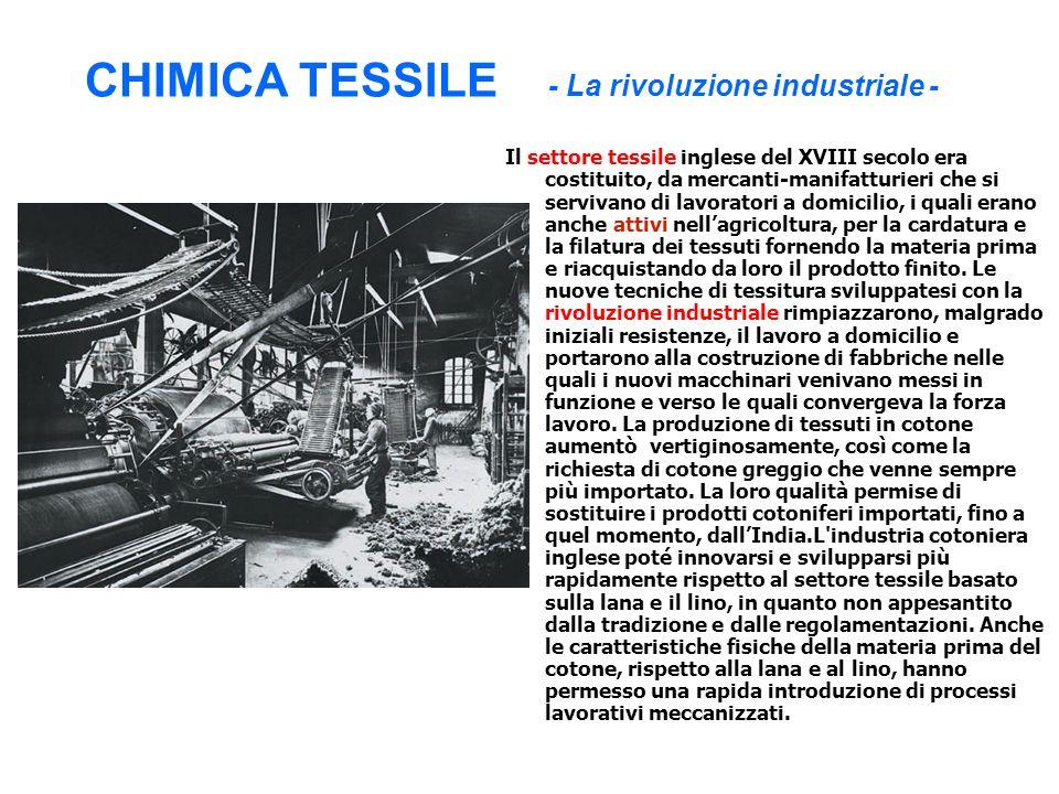 CHIMICA TESSILE - La rivoluzione industriale - Il settore tessile inglese del XVIII secolo era costituito, da mercanti-manifatturieri che si servivano
