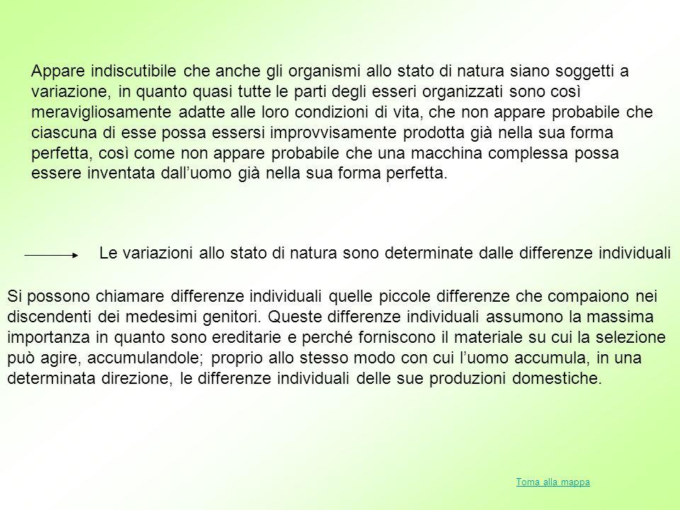 Appare indiscutibile che anche gli organismi allo stato di natura siano soggetti a variazione, in quanto quasi tutte le parti degli esseri organizzati