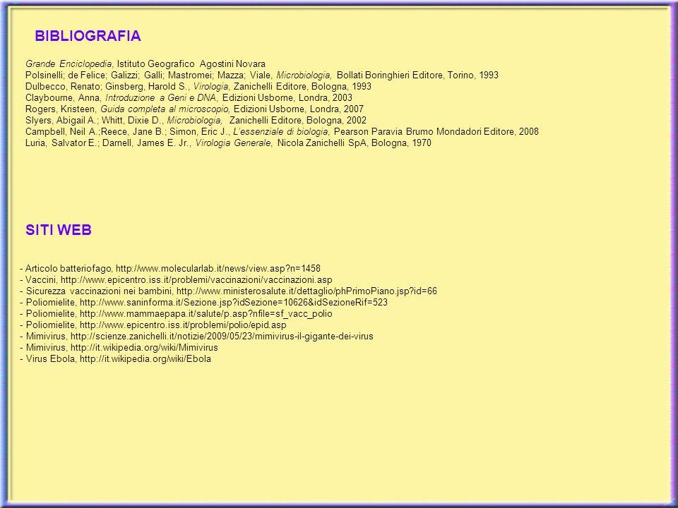 BIBLIOGRAFIA Grande Enciclopedia, Istituto Geografico Agostini Novara Polsinelli; de Felice; Galizzi; Galli; Mastromei; Mazza; Viale, Microbiologia, B