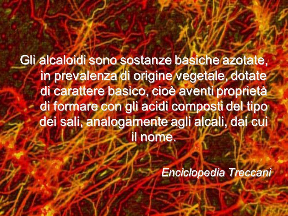 Gli Alcaloidi sono presenti soprattutto nelle Dicotiledoni:Gli Alcaloidi sono presenti soprattutto nelle Dicotiledoni: ApocinaceeApocinacee PapavereceePapaverecee PapiglionaceePapiglionacee SolanaceeSolanacee E sono localizzati soprattutto:E sono localizzati soprattutto: Nei semiNei semi Nelle foglieNelle foglie Nei rizomiNei rizomi Nella cortecciaNella corteccia