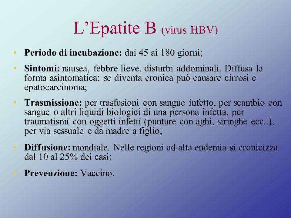 LEpatite B (virus HBV) Periodo di incubazione: dai 45 ai 180 giorni; Sintomi: nausea, febbre lieve, disturbi addominali. Diffusa la forma asintomatica