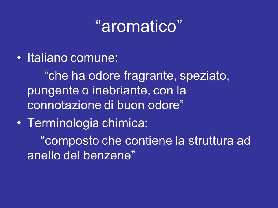 aromatico Italiano comune: che ha odore fragrante, speziato, pungente o inebriante, con la connotazione di buon odore Terminologia chimica: composto c