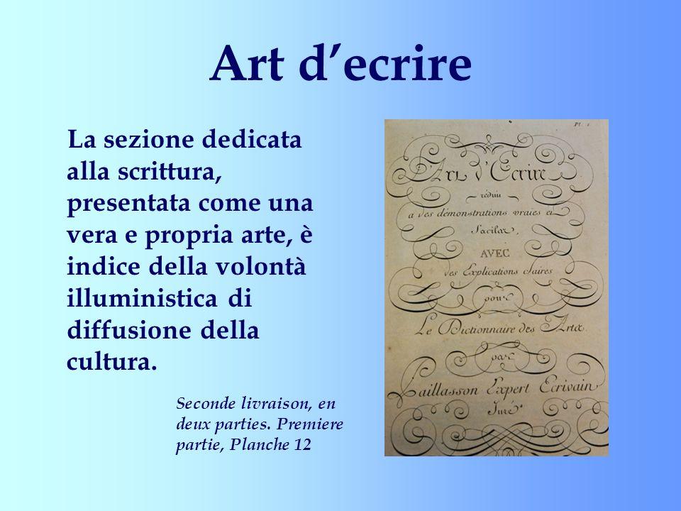 Art decrire La sezione dedicata alla scrittura, presentata come una vera e propria arte, è indice della volontà illuministica di diffusione della cult