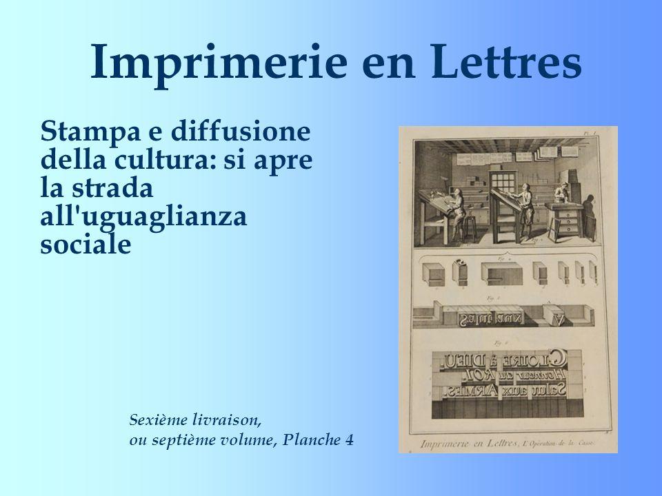 Imprimerie en Lettres Stampa e diffusione della cultura: si apre la strada all'uguaglianza sociale Sexième livraison, ou septième volume, Planche 4