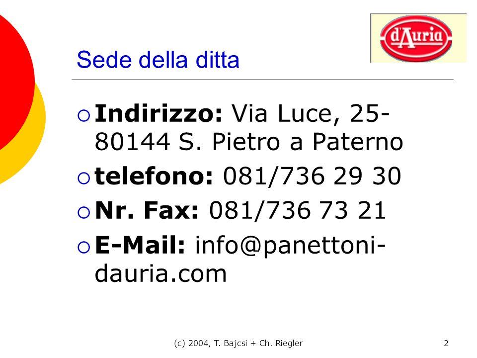 (c) 2004, T. Bajcsi + Ch. Riegler2 Sede della ditta Indirizzo: Via Luce, 25- 80144 S. Pietro a Paterno telefono: 081/736 29 30 Nr. Fax: 081/736 73 21