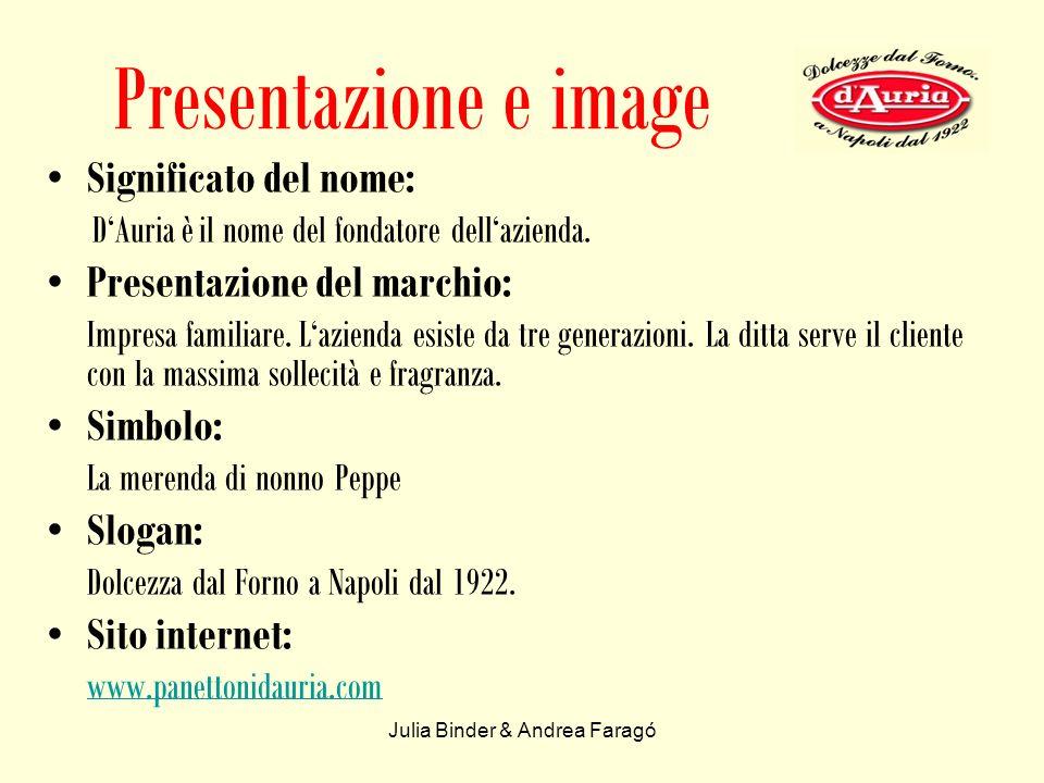 Julia Binder & Andrea Faragó Presentazione e image Significato del nome: DAuria è il nome del fondatore dellazienda.