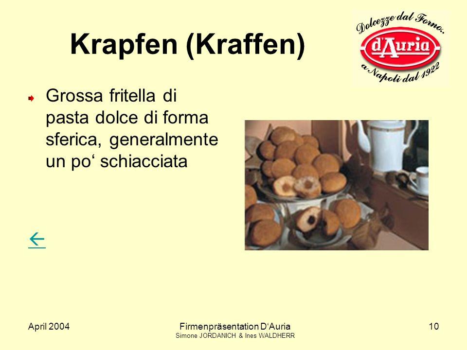 April 2004Firmenpräsentation DAuria Simone JORDANICH & Ines WALDHERR 10 Krapfen (Kraffen) Grossa fritella di pasta dolce di forma sferica, generalmente un po schiacciata