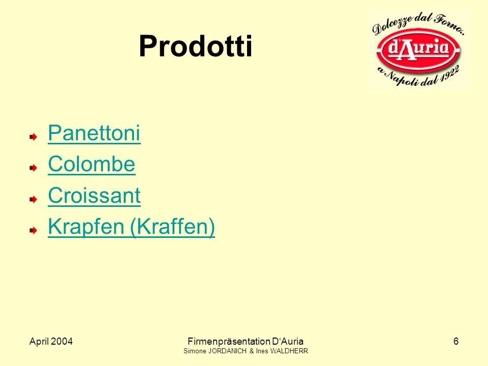 April 2004Firmenpräsentation DAuria Simone JORDANICH & Ines WALDHERR 6 Prodotti Panettoni Colombe Croissant Krapfen (Kraffen)