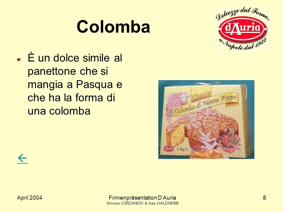 April 2004Firmenpräsentation DAuria Simone JORDANICH & Ines WALDHERR 8 Colomba È un dolce simile al panettone che si mangia a Pasqua e che ha la forma di una colomba