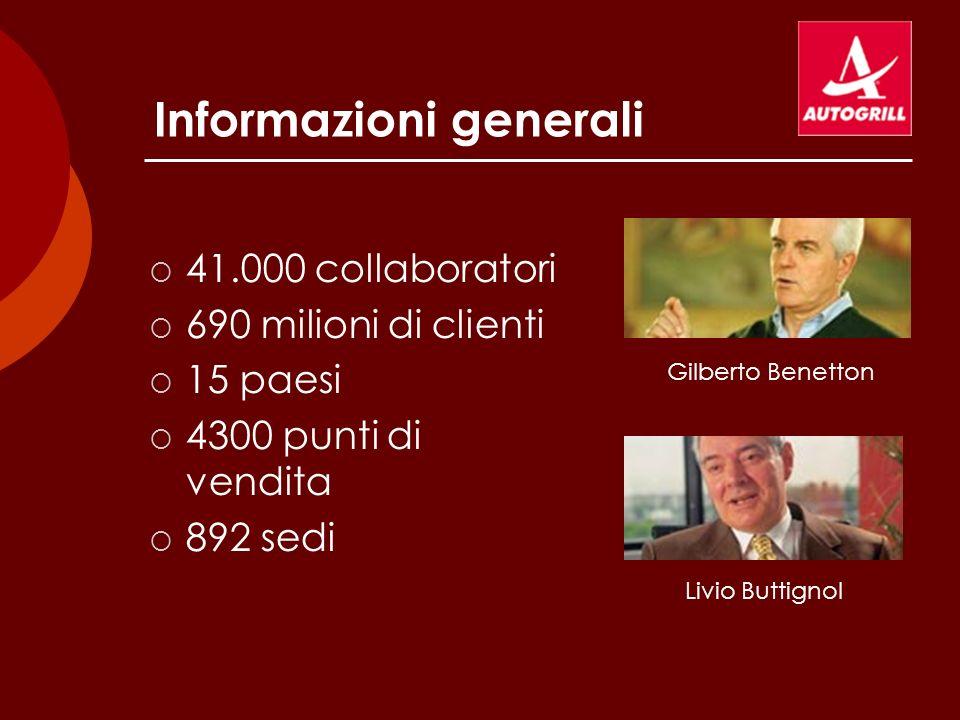 Informazioni generali 41.000 collaboratori 690 milioni di clienti 15 paesi 4300 punti di vendita 892 sedi Gilberto Benetton Livio Buttignol