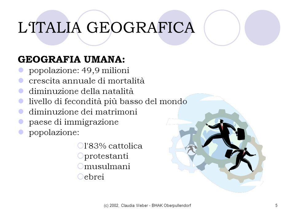 (c) 2002, Claudia Weber - BHAK Oberpullendorf5 LITALIA GEOGRAFICA GEOGRAFIA UMANA: popolazione: 49,9 milioni crescita annuale di mortalità diminuzione
