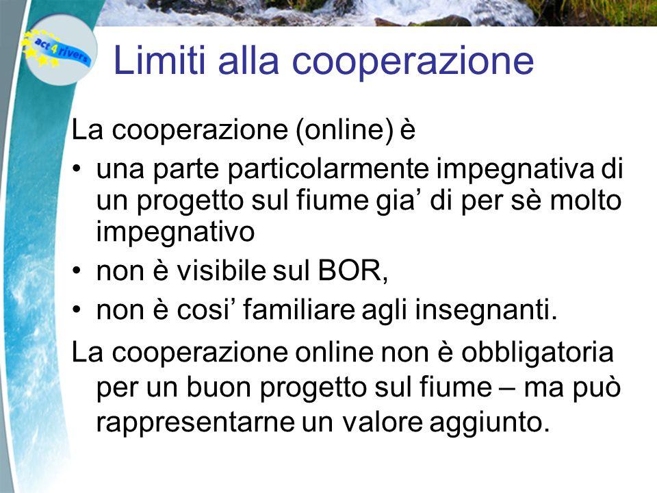 Limiti alla cooperazione La cooperazione (online) è una parte particolarmente impegnativa di un progetto sul fiume gia di per sè molto impegnativo non è visibile sul BOR, non è cosi familiare agli insegnanti.
