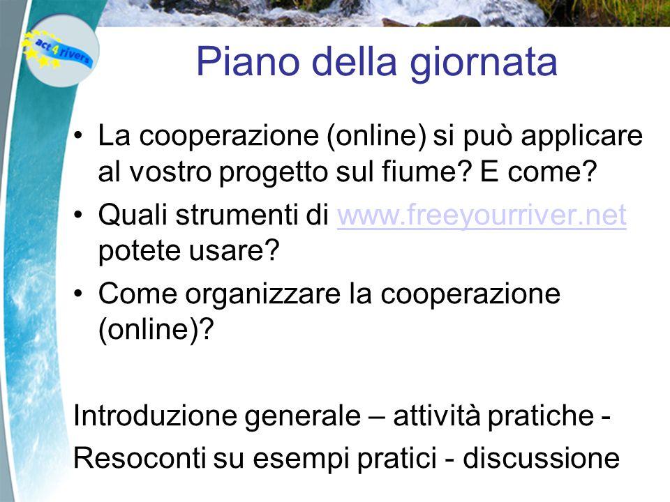 Piano della giornata La cooperazione (online) si può applicare al vostro progetto sul fiume.