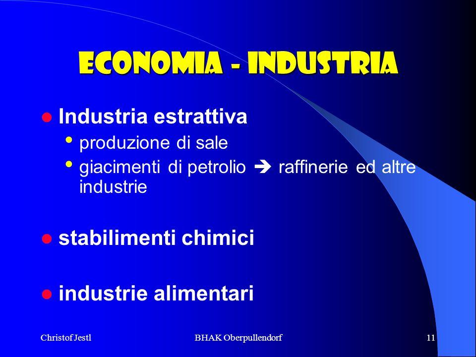 Christof JestlBHAK Oberpullendorf11 Economia - industria Industria estrattiva produzione di sale giacimenti di petrolio raffinerie ed altre industrie