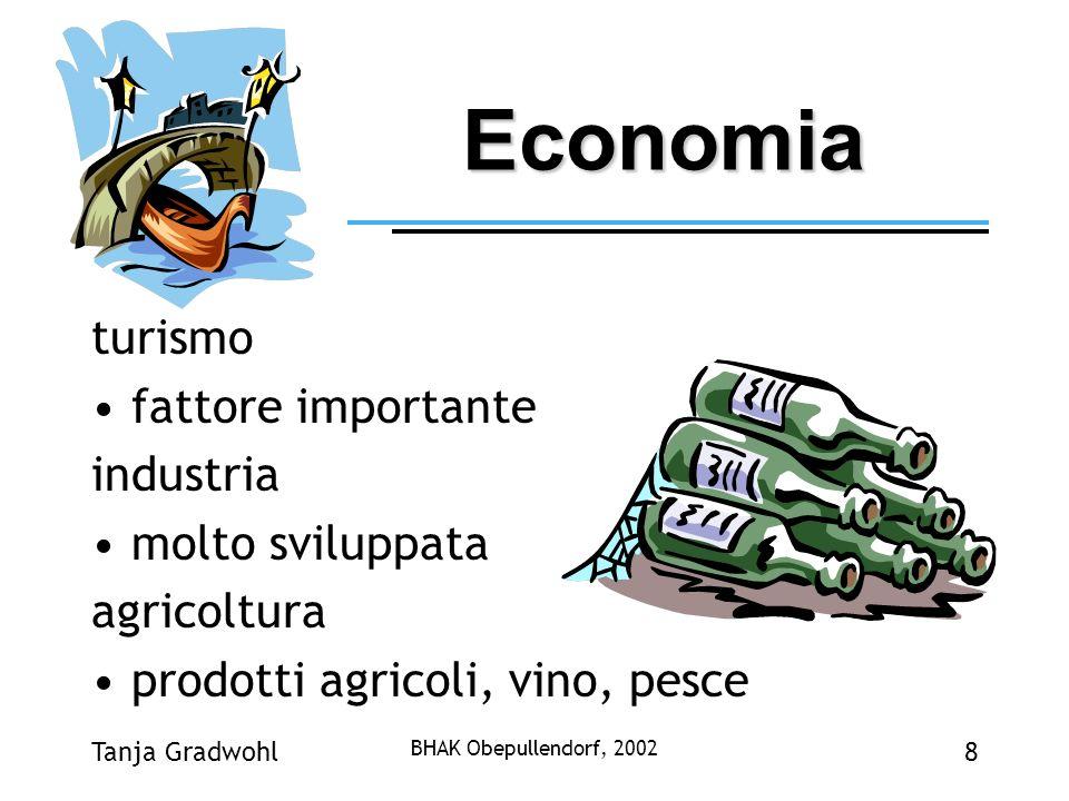 Tanja Gradwohl BHAK Obepullendorf, 2002 8 Economia turismo fattore importante industria molto sviluppata agricoltura prodotti agricoli, vino, pesce