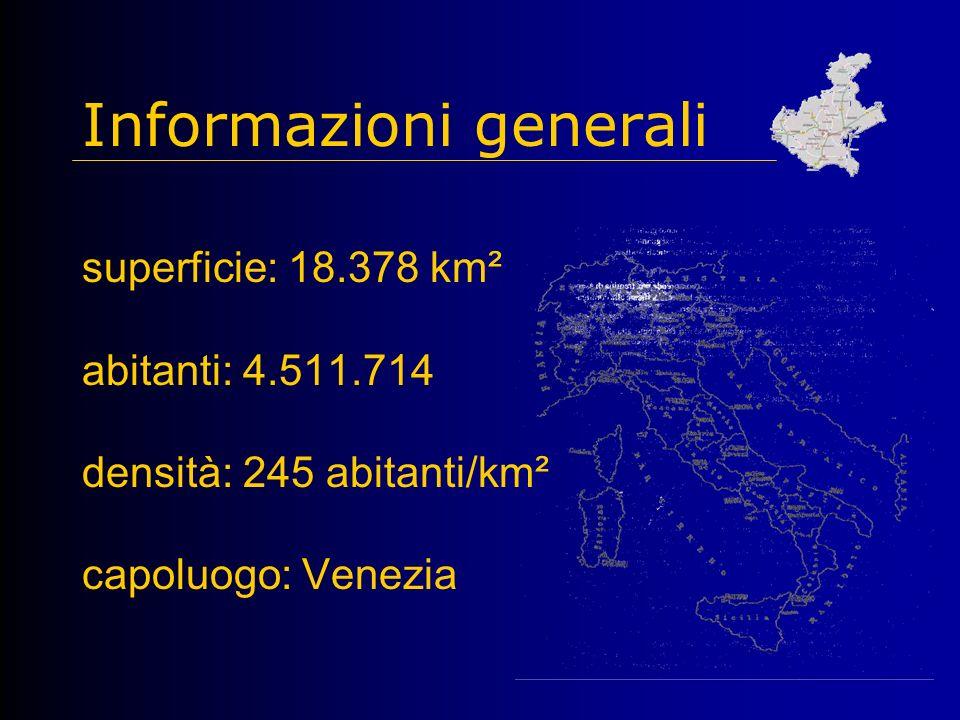 Informazioni generali superficie: 18.378 km² abitanti: 4.511.714 densità: 245 abitanti/km² capoluogo: Venezia